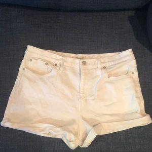 Madewell high rise white denim shorts
